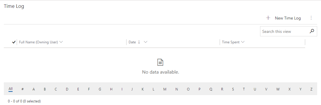 Time Log in Dynamics 365 Task