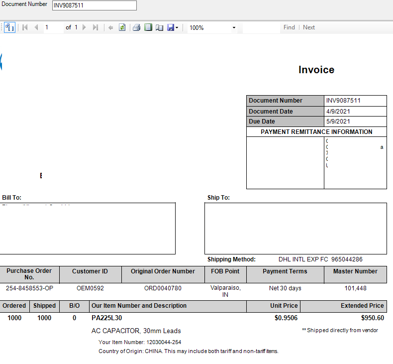 SOP invoice from SSRS