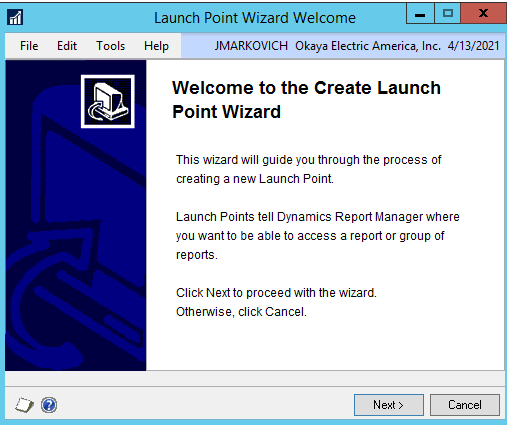 DRM launch point wizard welcome