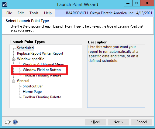 DRM launch point window field or button