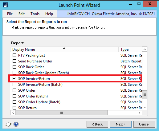 DRM launch point select report