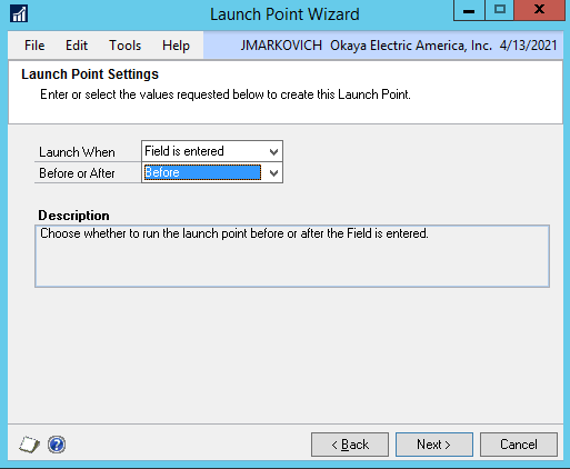 DRM launch point field entered before