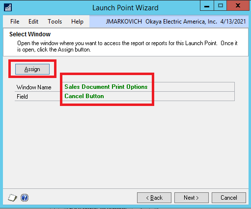 DRM launch point assign screen