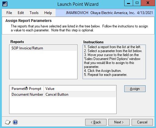 DRM launch point parameter field