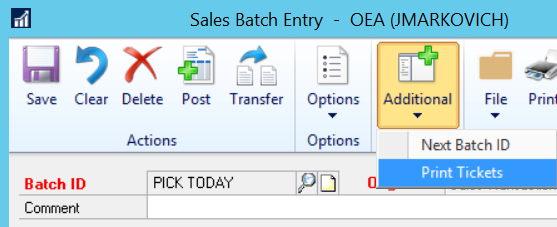 Sales Batch Entry in GP to print tickets